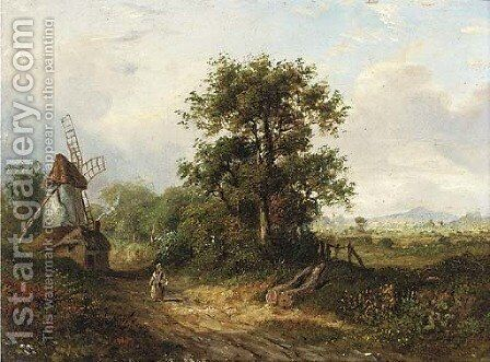 A figure on a country track by a windmill by J. Westall - Reproduction Oil Painting