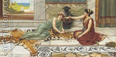 Knuckle bones by John William Godward - Reproduction Oil Painting