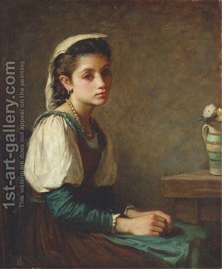 Portrait of a young girl, seated, with a vase of daisies by (after) Cortona, Pietro da (Berrettini) - Reproduction Oil Painting