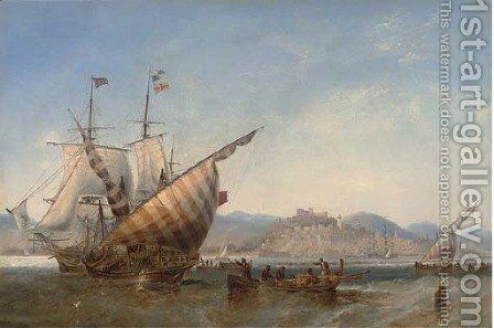 A British frigate and Mediterranean xebecs off Sidon, Lebanon by James Wilson Carmichael - Reproduction Oil Painting
