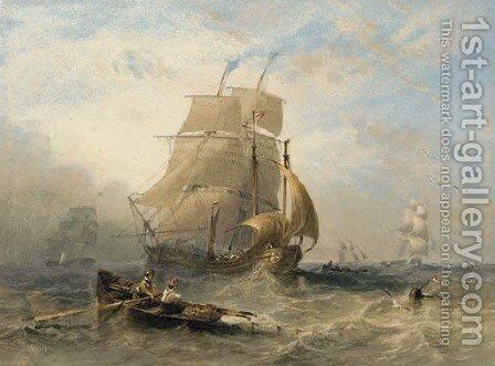 A collier brig, a lugger, and other fishing vessels off the north east coast by James Wilson Carmichael - Reproduction Oil Painting