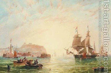 A trading brig and other vessels off the entrance to Scarborough by James Wilson Carmichael - Reproduction Oil Painting