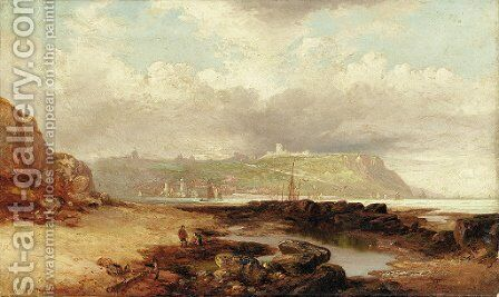 A view of Dover Castle from the harbor by James Wilson Carmichael - Reproduction Oil Painting