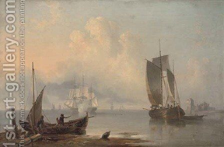 Announcing their departure from the anchorage by James Wilson Carmichael - Reproduction Oil Painting