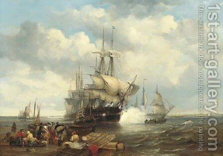 Four Indiamen preparing to leave the lower Thames with passengers embarking in the foreground by James Wilson Carmichael - Reproduction Oil Painting