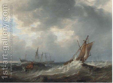 Going to the rescue by James Wilson Carmichael - Reproduction Oil Painting