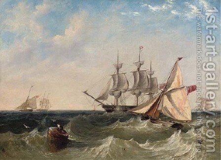 Naval cutters offshore with a frigate coming to anchor, probably at Spithead by James Wilson Carmichael - Reproduction Oil Painting