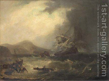 Salvaging the wreck off the Scottish coast by James Wilson Carmichael - Reproduction Oil Painting