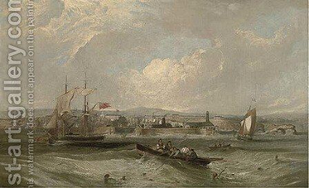 Seaham Harbour, County Durham by James Wilson Carmichael - Reproduction Oil Painting