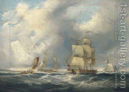 Shipping in a squall by James Wilson Carmichael - Reproduction Oil Painting