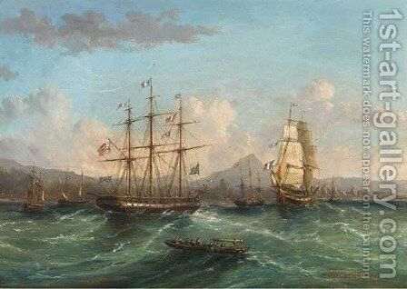 Shipping passing in the roadstead by James Wilson Carmichael - Reproduction Oil Painting