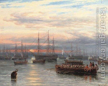 Sunrise in the Baltic off Cronstadt by James Wilson Carmichael - Reproduction Oil Painting