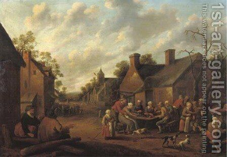 A peasant feast in a village by Joost Cornelisz. Droochsloot - Reproduction Oil Painting