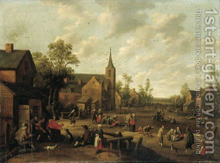 A village scene with peasants playing and conversing by Joost Cornelisz. Droochsloot - Reproduction Oil Painting