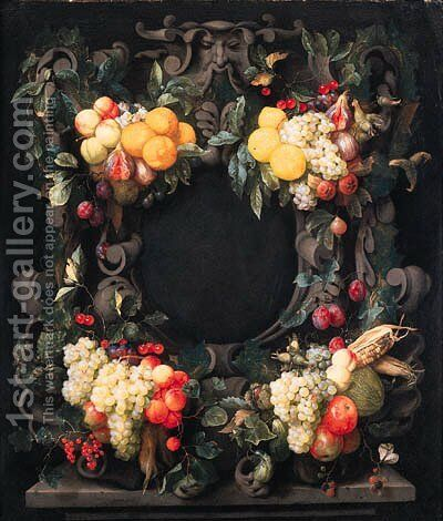 Clusters of oranges, lemons, pears, grapes, figs and other fruit, corncobs and nuts decorating a stone cartouche by Joris Van Son - Reproduction Oil Painting
