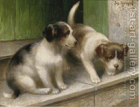Mischevious puppies by Josef Heimerl - Reproduction Oil Painting