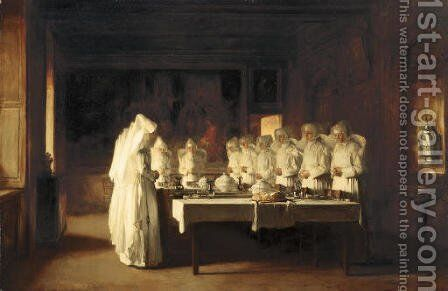 Sisters of Charity Saying Grace Before a Meal at the Hospice in Beaune, France, (Le Benedicte) by Claude Joseph Bail - Reproduction Oil Painting