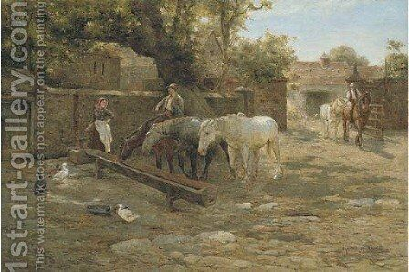 The Drinking Trough by Harold Swanwick - Reproduction Oil Painting