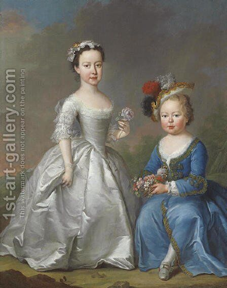 Double portrait of two children in a landscape by Joseph Highmore - Reproduction Oil Painting