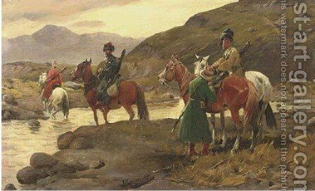 Kosaken am Wasser Cossacks crossing a river by J. Konarski - Reproduction Oil Painting