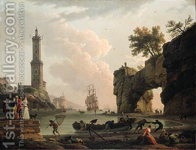 A Mediterranean harbour at sunset, with the artist, his daughter Emilie Chalgrin, his son Carle Vernet, his daughter-in-law, Fanny Moreau by Claude-joseph Vernet - Reproduction Oil Painting