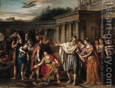 Priam leaving to beg Achilles for Hector's body by Joseph-Marie Vien - Reproduction Oil Painting