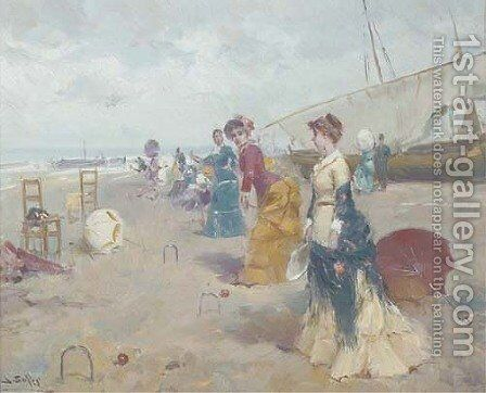 Croquet on the beach by Joan Roig Soler - Reproduction Oil Painting