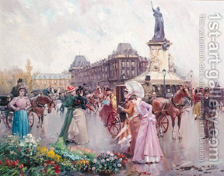 Buying flowers in a Parisian street by Joan Roig Soler - Reproduction Oil Painting