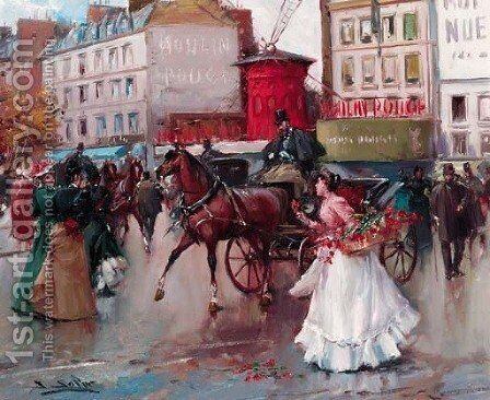 By the Moulin Rouge, Paris by Joan Roig Soler - Reproduction Oil Painting