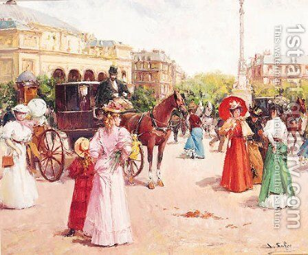 Elegant Figures in a Parisian Street by Joan Roig Soler - Reproduction Oil Painting