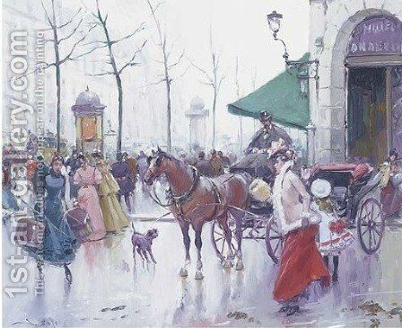 A Parisienne departure by Joan Roig Soler - Reproduction Oil Painting