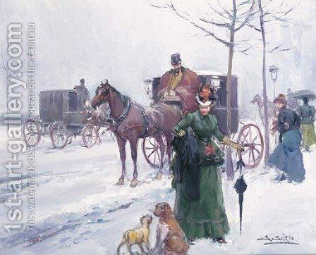 A winter outing by Joan Roig Soler - Reproduction Oil Painting