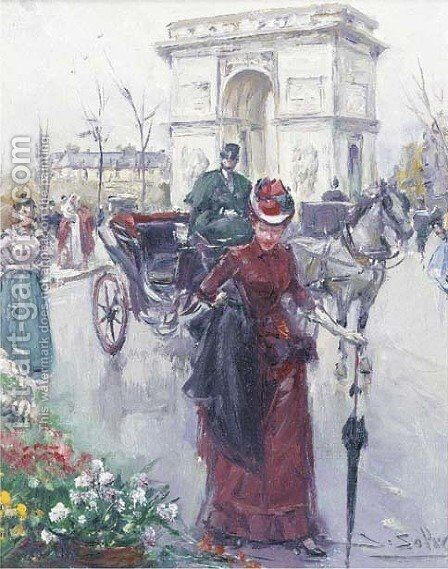 Elegant figures before the Arc de Triomphe by Joan Roig Soler - Reproduction Oil Painting