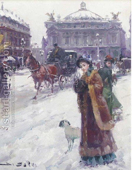 Figures in the snow before the Opera House, Paris 2 by Joan Roig Soler - Reproduction Oil Painting