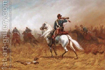 Signalling the charge by A. Jules Van Imschoot - Reproduction Oil Painting