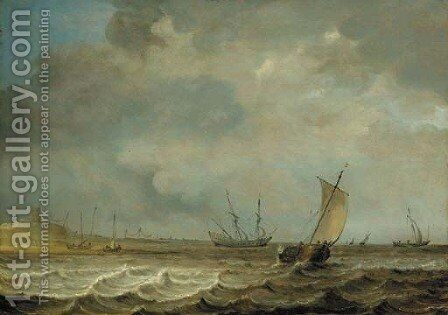 A smalschip, a frigate and other shipping in choppy seas by Jan Porcellis - Reproduction Oil Painting