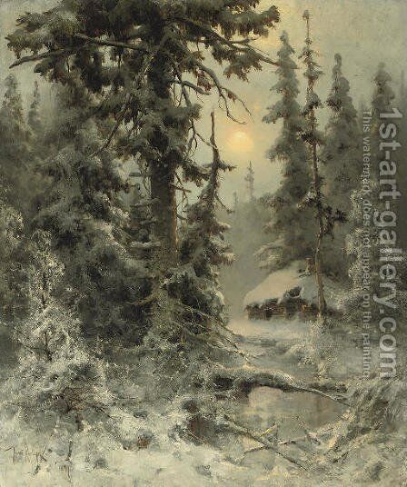 After the snowfall by Iulii Iul'evich (Julius) Klever - Reproduction Oil Painting