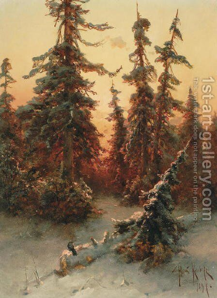 The last sunrays by Iulii Iul'evich (Julius) Klever - Reproduction Oil Painting