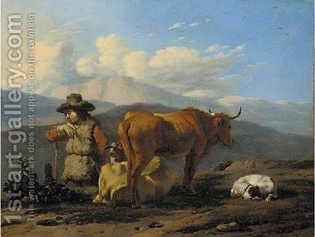An Italianate landscape with a herdsman with cattle and a dog by Karel Dujardin - Reproduction Oil Painting