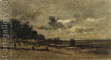 Le brise-lame, a Villerville, a maree basse by Charles-Francois Daubigny - Reproduction Oil Painting