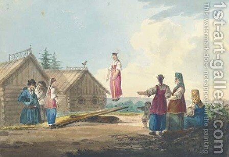 Peasant girls playing on a see-saw by Carl Ivanovitch Kollmann - Reproduction Oil Painting