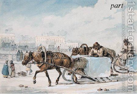 The Ice-Haulers by Carl Ivanovitch Kollmann - Reproduction Oil Painting