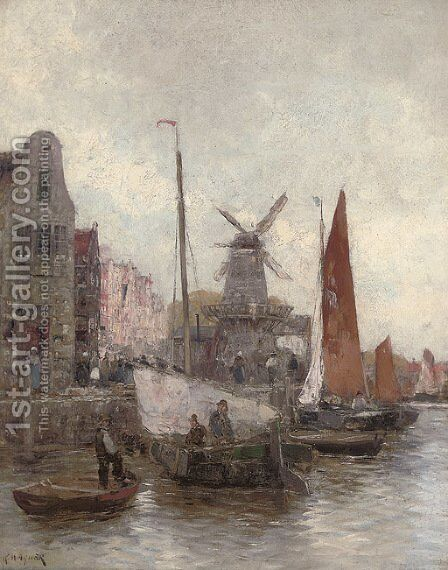 Vessels at a continental quay by Carl Wagner - Reproduction Oil Painting