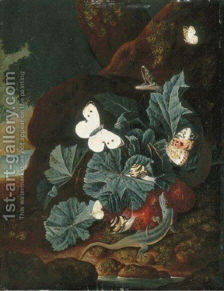 A forest floor still-life with a lizard, butterflies, snails and a snake by Carl Wilhelm de Hamilton - Reproduction Oil Painting