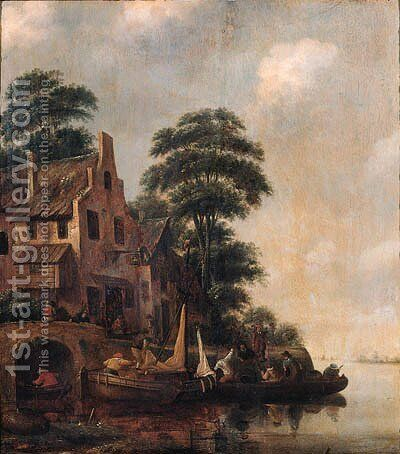 A ferry moored near the Swan inn with fishermen unloading lobster pots on a quay nearby by Claes Molenaar (see Molenaer) - Reproduction Oil Painting