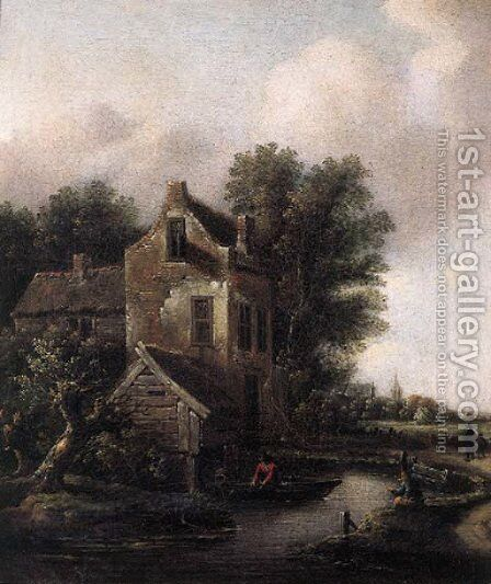 A fisherman in a rowing boat on a moat by a fortified mansion, peasants on a sandy track nearby by Claes Molenaar (see Molenaer) - Reproduction Oil Painting