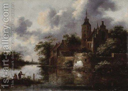 A river landscape with a rowing boat by a fortified town, anglers in the foreground by Claes Molenaar (see Molenaer) - Reproduction Oil Painting