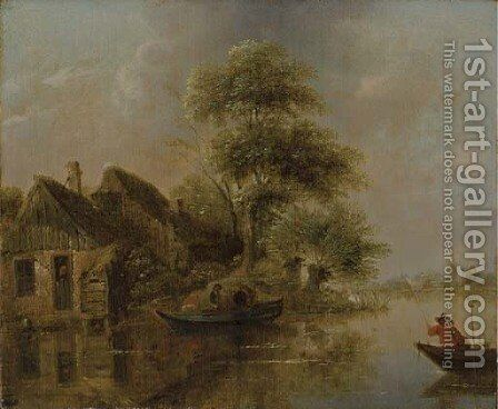 A river landscape with fishermen in a boat by Claes Molenaar (see Molenaer) - Reproduction Oil Painting