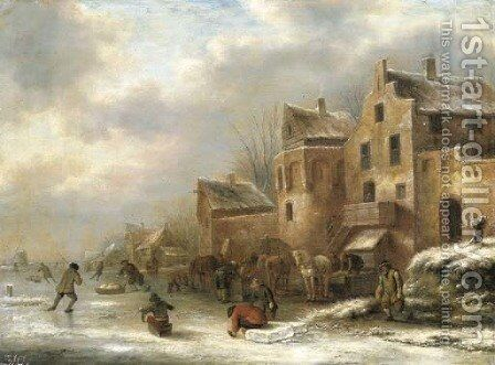 A winter landscape with skaters by a village by Claes Molenaar (see Molenaer) - Reproduction Oil Painting