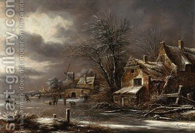 A winter landscape with skaters on a frozen river by a village by Claes Molenaar (see Molenaer) - Reproduction Oil Painting